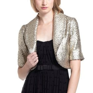 Anthropologie Elevenses Gold Cropped Blazer